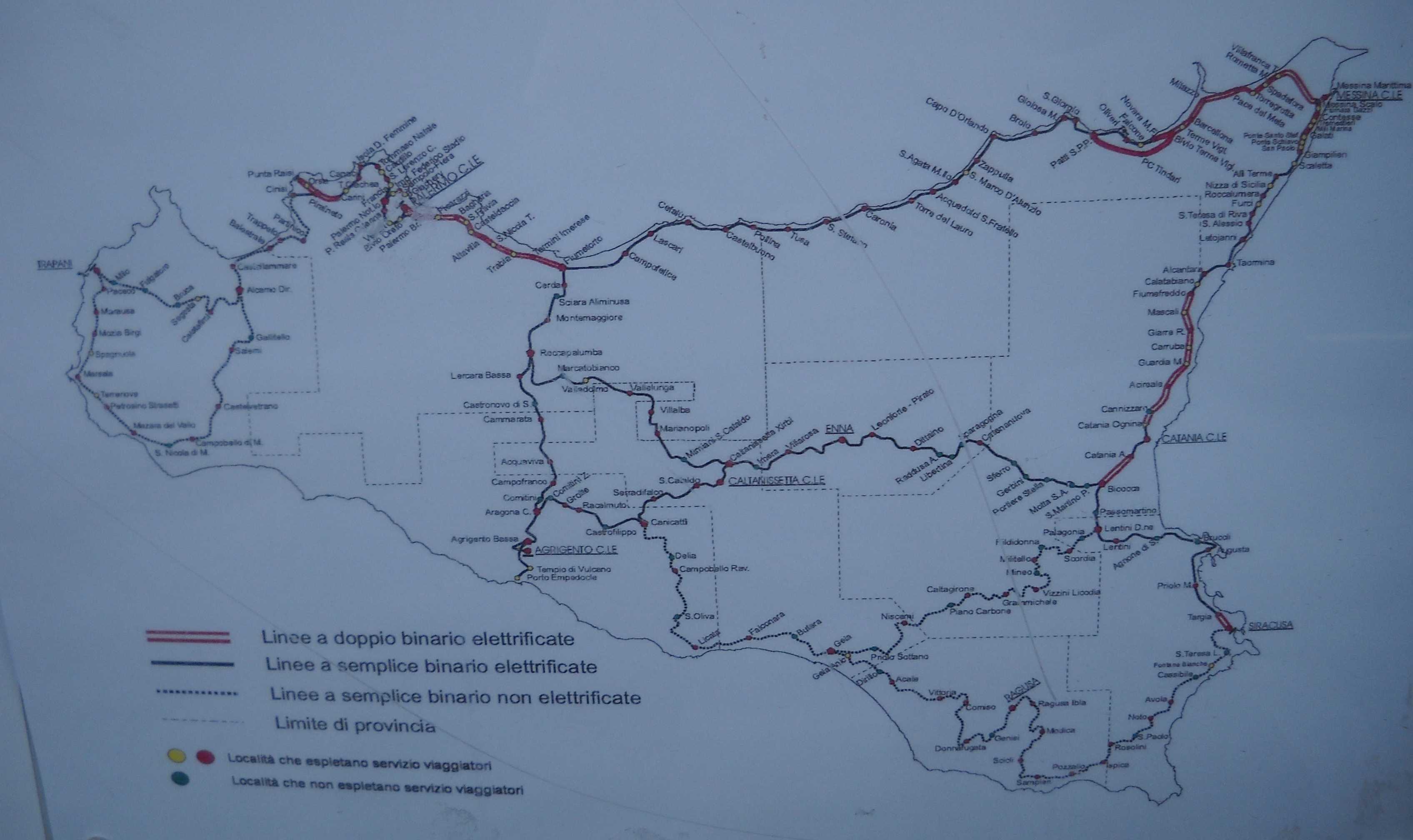 Síť železnic na Sicílii